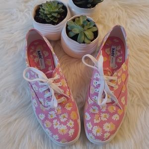 Pink Flower Keds Sneakers Size 8